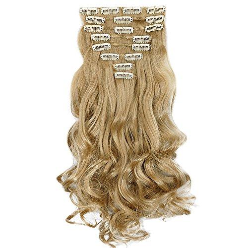 Extension Clip Capelli Bionde Sintetici Mossi Lunghi 24 pollici 60cm Full Head Hair Extension 8 Ciocche