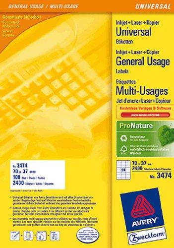 AVERY Zweckform Etiketten Inkjet/Laser/Kopier 70x37mm weiß VE=2400 Stück