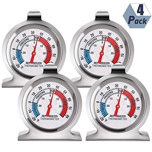 You&Lemon Refrigerator Freezer Thermometer Classic Series Large Dial Thermometer Temperature Thermometer for Refrigerator Freezer Fridge Cooler,Pack of 4