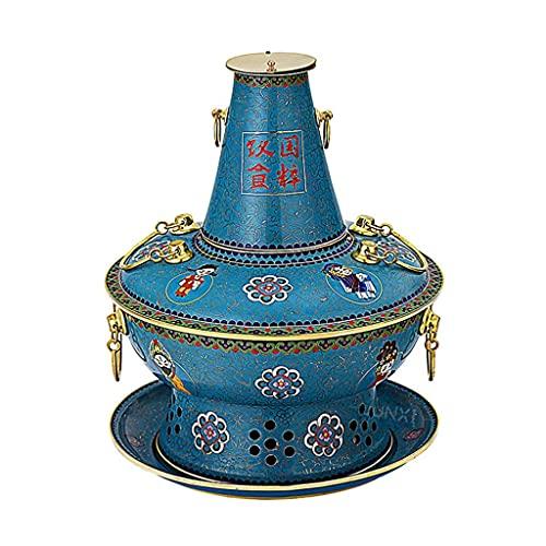 KCGNBQING Heißer Topf Große Kapazität Elektrische Blaue Holzkohle Geschmack von China Kupfersuppe Basisheizung Fondue Fryers Kupfer heißer Topf (Color : Blue, Size : 34 * 34 * 34cm)