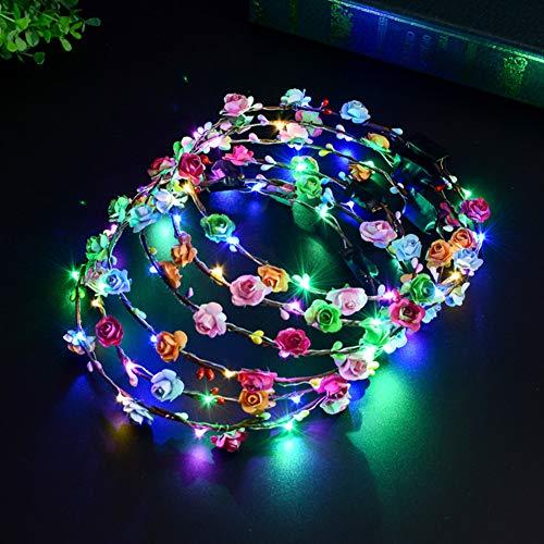 LED Ghirlanda Fiori, Danolt 10pcs LED Capelli Ghirlande Fascia Fiori Coroncine Fiori per le Donna Ragazze Copricapo da Sposa Feste e Compleanni Accessori per Capelli