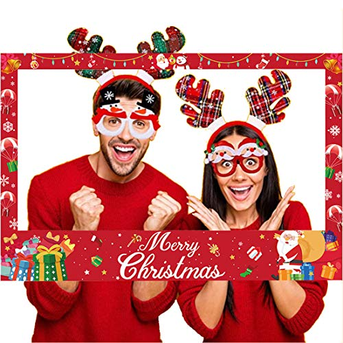 JOZON Christmas Photo Booth Props Frame Merry Christmas Photo Booth Party Favors for Xmas Winter Holiday Party Supplies Decorations