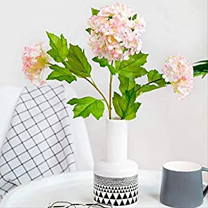 OUPPENG Gifts Artificial Flower Home Decor Artificial Flower Plant Three Small Snowballs Hydrangea Bunches Fake Floral Art (3Pcs) Decoration