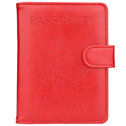 GDTK Leather Passport Holder Cover Case RFID Blocking Travel Wallet (Red)