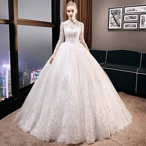 Kleid Hochzeitskleid ein Rock Hochzeitskleid die Braut Schleppendes Hochzeitskleid Zwei Hochgeschlossene Langärmelige Brautkleid Prom/Íïβ¿Î/Xxl, L-F, Æëµø¿î, XXL