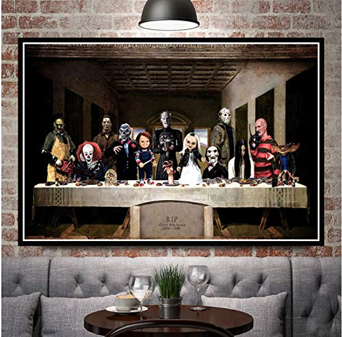 REDWPQ Halloween Film d'horreur de caractère la dernière Cène Art Peinture Affiches Impressions Mur Image Chambre Home Decor 42X60 cm sans Cadre
