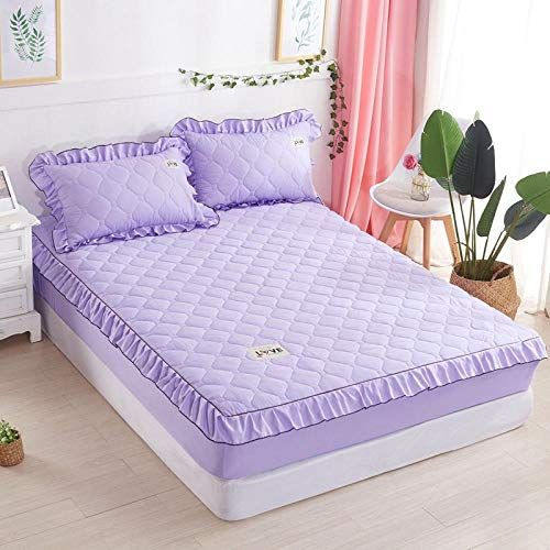 lhmlyl Double Mattress Protectorbed Sheet Single Piece Cotton-Filled Thick Mattress Protection Cover Non-Slip Fixed Bed Cover All-Inclusive Dust Cover-Light Purple_120X200【Padded Cotton Single Bed】