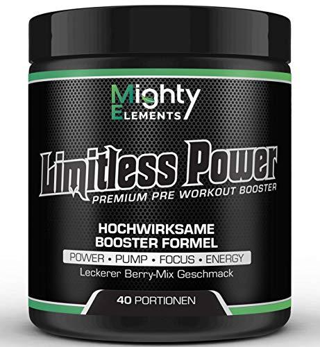 NEU Limitless Power 2.0 - stärkere Formel - Pre Workout Booster, 40 Portionen, L-Arginin, L-Citrullin, CDP-Cholin Citicolin, Beta-Alanin, Guarana, BCAA 2:1:1, Pump Booster, Fokus, kein Crash-Down