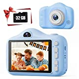 TONDOZEN Kids Camera Blue, 3.5 Inch Camera for Kids, Children's Selfie Camera, Dual Lens Funny Frames Camera for The 4-12 Years Old Kid, Multifunction Camera Including 32G Memory Card