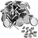 Vivian 50pcs(25pairs) Stainless Steel Stud Earring Cabochon Setting Flat Round Bezel Ear Studs Posts Blank Tray Base for DIY Earring Making, Tray: 12mm; Pin: 1mm, Silver Color