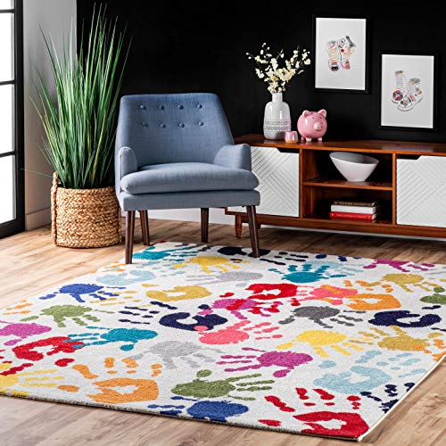 Product Image of the nuLOOM Pinkie Handprint Nursery Kids Area Rug, 6' 7' x 9', Multi