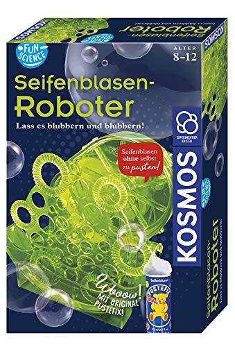 Kosmos 654122 Fun Science Seifenblasen-Roboter, Schillernde Seifenblasen am laufenden Band ohne Pusten, Elektronik-Bausatz, Pustefix-Seifenblasenflüssigkeit, Experimentierkasten für Kinder ab 8-12
