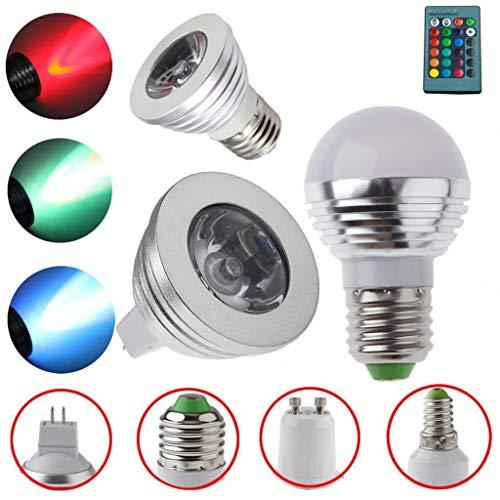 FidgetKute MR16 E14 E27 GU10 3W RGB LED 16 Color Change Spot Light Bulb +Remote Controller MR16 Flat Bulb + Remote One Size