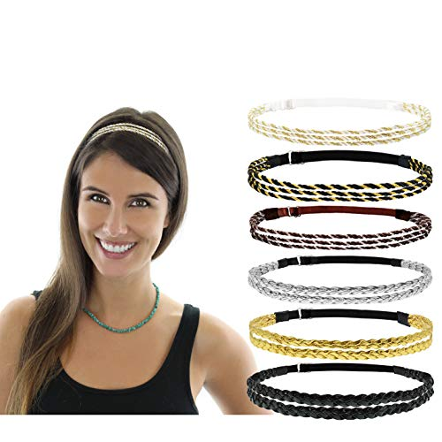 Beaute Galleria 6 Pieces Adjustable Elastic Braided Plaited Women Headbands Hair Band with Double Braided and Triple Strand Twisted Gold Silver Disco Hippie Boho Bohemian Style Hair Accessory