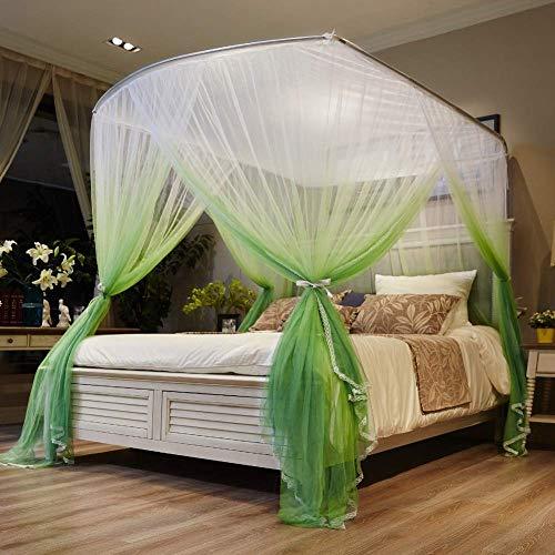 U Type Retractable Romantic Klamboe Bed Canopy, Rail Type Kinderen Bed Nets Encryption Account Yarn Mosquito Gordijn, Blauw, 200 * 220cm QIANGQIANG (Color : Green, Size : 120 * 200cm)