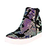 Cape Robbin Women Sequin High Top Hidden Wedge Fashion Sneaker Violet (Size: 9)