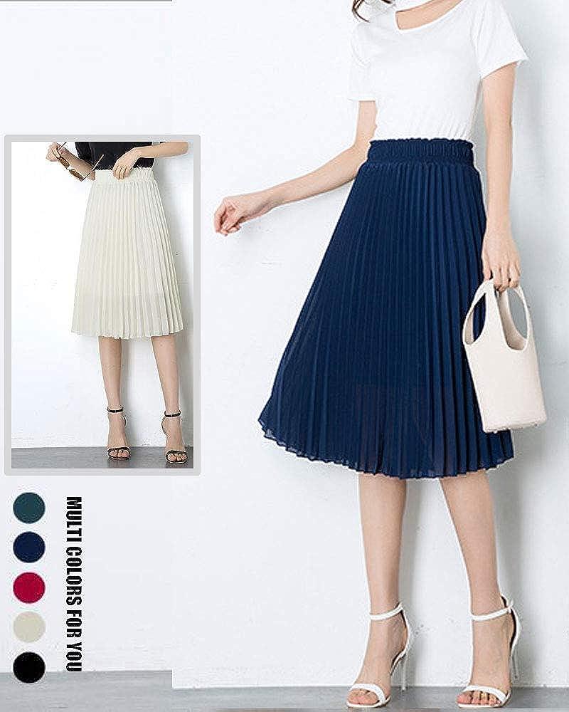 TeeYee Women A Line Pleated Skirt Elastic High Waist Swing Chiffon Midi Skirt
