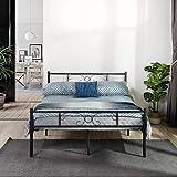 SYMY Design Lit Double en métal Cadre de lit Double avec Lattes Pleines et Structure métallique 140x190cm, Noir
