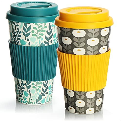 com-four 2X Taza de café para Llevar de bambú - Taza de café para Llevar - café para Llevar - Taza Reutilizable para Beber - Taza de Viaje con Tapa - 425 ml (02 Piezas - Amarillo-Gris/Turquesa)