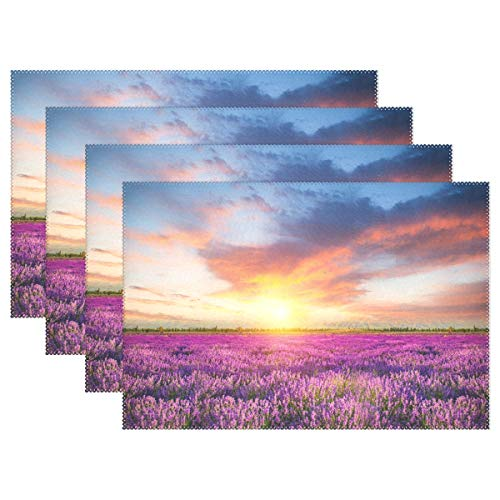 ZZAEO Beautiful Flower Sea Purple Lavender Placemats Set of 4, Washable Polyester Table Mat for Kids Festival Kitchen Dinner Decoration (12 x 18 inch)