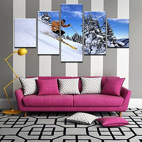JINGMEI Canvas Painting HD Picture 5 Combinación De Pinturas Colgantes Chico De Deporte De Esquí Decoración De La Pared del Hogar Arte Regalo Cartel Paisaje Enmarcado 150X80Cm
