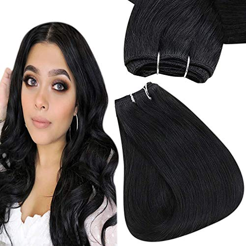Easyouth Tissage Naturel Cheveux Humain Couleu Noir Extensions Human Hair Tissage Bresilien Lot de Cheveux Naturel Tissage 14pouces 70g 1Pcs