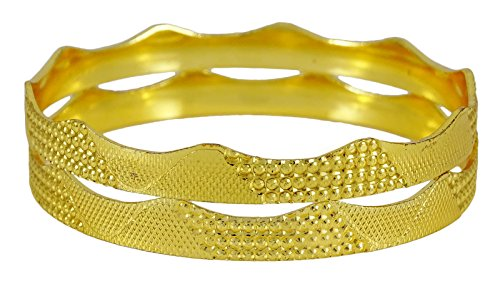 Banithani 18k vergoldet 2 Pcs Armreif set indische Frauen traditionelle Armband Schmuck 2*6