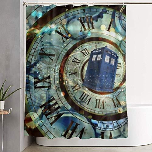 N\A Duschvorhang Dekor Tardis Doctor Police Box Wohnkultur Duschvorhang, zeitgenössischer Badezimmervorhang, Pflegeleichte Stoff Duschvorhänge