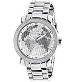 Mens Diamond Watch 0.12 ctw of Diamonds by Luxurman Black White Map Watch