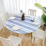 Cozomiz Mantel de Elástica Ajustada Protector de Mesa con Bordes Impermeable Cubierta de Mesa Resistente a Agua 80x160cm Corte Entallado Rectangular Rayas Azul