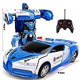 Robot de voiture, 2 en 1 Transformers RC Robot Car Télécommande Voiture Jouet, Transforming Robot Télécommande Voiture avec un Bouton Transformation et LED Lumières RC Voitures Jouet pour Enfants