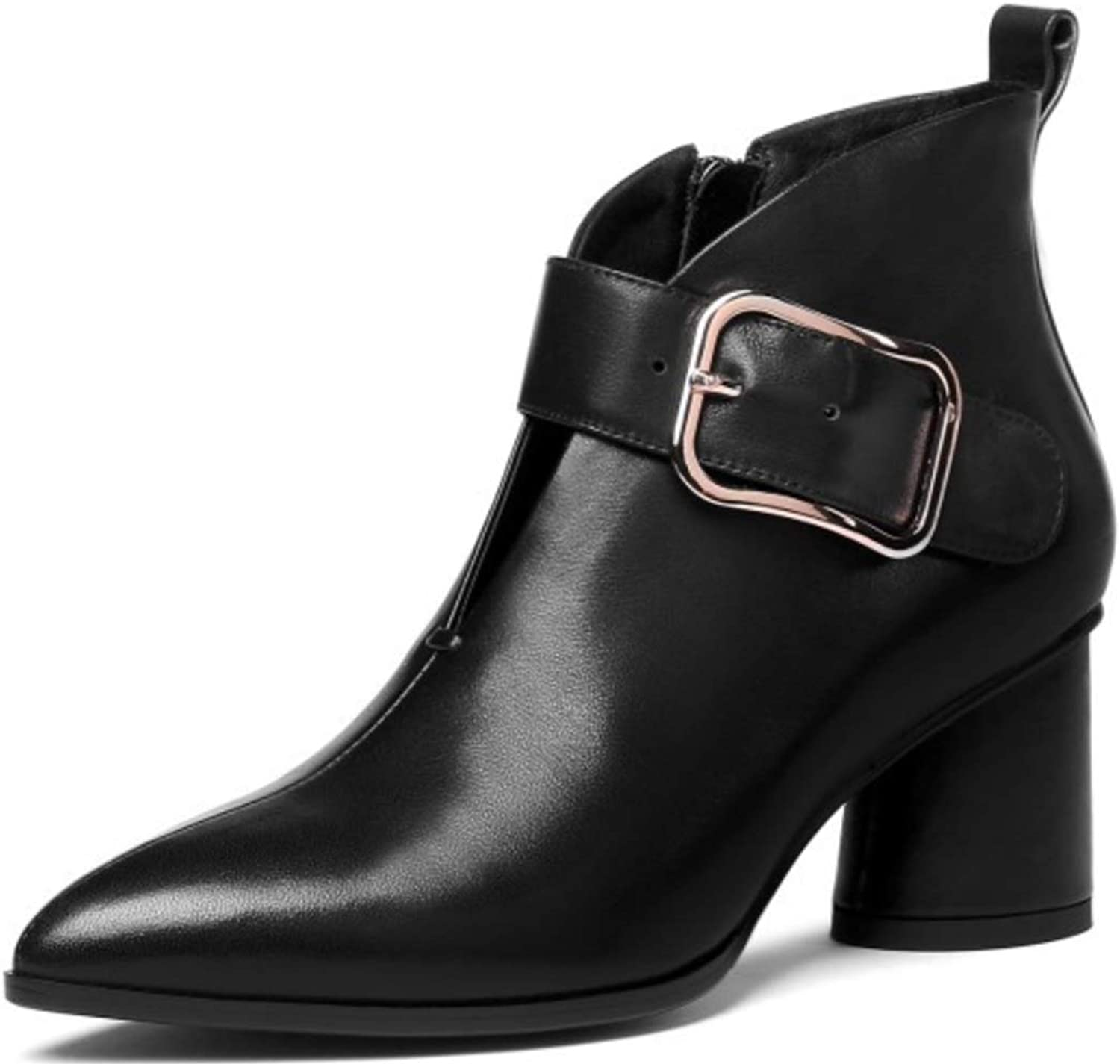 Women's Boots New Ol Pointed High-Heeled Chunky Heel Boots Metal Belt Buckle Trend Wild