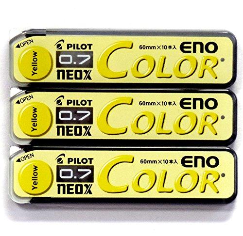 Pilot Color Mechanical Pencil Lead Eno, 0.7mm, Yellow, 10 Lead ×3 Pack/total 30 Leads (Japan Import)