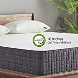 King Mattress, Sweetnight Breeze 10 Inch King Size Mattress-Infused Gel Memory Foam Plush Top Mattress, Medium Firm