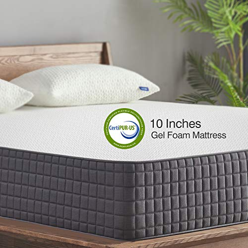 King Mattress, Sweetnight 10 Inch King Size Mattress-Infused Gel Memory Foam Mattress for Back Pain Relief & Cool Sleep, Medium Firm