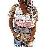 wenyujh Camiseta de manga corta para mujer, cuello en V, camiseta de punto, informal, elegante blusa básica, suelta, de verano, camiseta sin mangas, camisola. Color caqui. L
