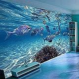 Mural 3D Papel tapiz 3D móvil Dibujos animados Mundo submarino Vida marina Mural Dormitorio de los niños Acuario Sala de estar Papel tapiz de fondo Decoración del hogar 400x280cm