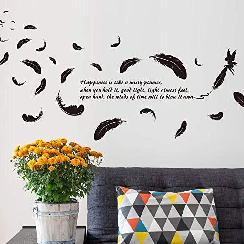 Pegatinas De Pared De Plumas Voladoras Negras Para Decoración Del Hogar Decoración De Fondo Para Sala De Estar Adhesivo Para Papel Tapiz