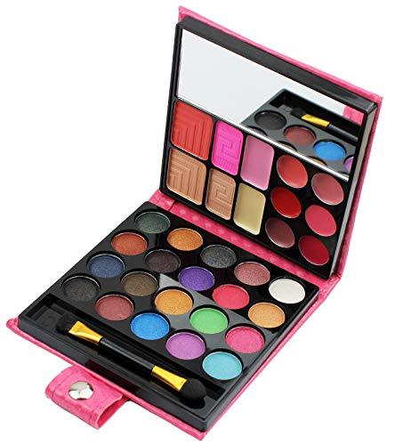 All in one Makeup Kit, Eyeshadow Palette Lip Glosses Blusher Concealer Powder Brush Mirror,Professional makeup kit set for women girls teens or Beginner,32 Color (1Pc)