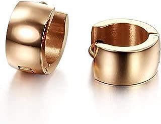 Ogquaton 1 paire dhommes en acier inoxydable Clip non-piercing sur loreille Stud Cuff Hoop Boucles doreilles cr/éatif et utile
