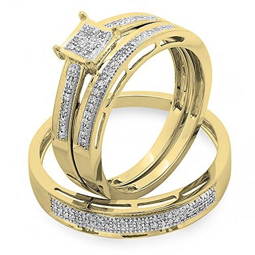 0,18Carat (quilate) 18K oro ronda diamantes damas y caballeros, su Hers novia anillo de compromiso Trio Set banda