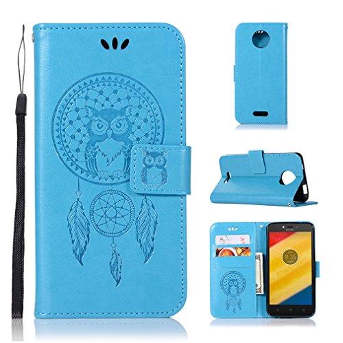 LMAZWUFULM Hülle für Motorola Moto C Plus (5,0 Zoll) PU Leder Magnetverschluss Brieftasche Lederhülle Eule & Traumfänger Muster Standfunktion Ledertasche Flip Cover für Motorola C Plus Blau