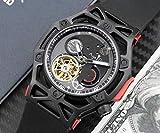 SILZDQP Marque de Hommes Automatique Mécanique Gris Rouge Noir Acier Inoxydable Caoutchouc Tourbillon Chronographe Multifonction Montres 1