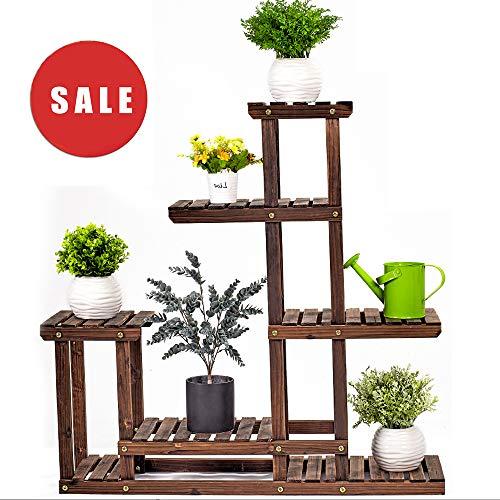 Wooden Plant Stand 6-Tier Flower Rack Multi Wood Shelves Bonsai Display Storage Shelves Indoor...