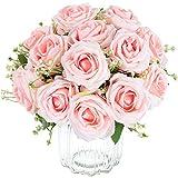 Bouquet de fleurs artificielles en soie de baleine à 9 têtes roses pour la maison, mariage, fête, festival