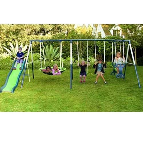 SKROUTZ Metal Swing Set with Slide for Backyard Outdoor Kids Fun Play Durable Construction Park for...