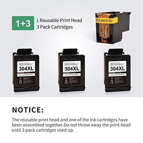 PINALL Paquete de 3 Cartuchos de Impresora Compatible para HP 304XL 304 XL para HP DeskJet 2622 2633 2634 3720 3730 3733 3735 3750 3760 3762 3764 Envidia 5010 5020 5030 5032 (Negro)