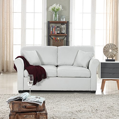Classic and Traditional Ultra Comfortable Linen Fabric Loveseat - Living Room Fabric Couch (Beige)