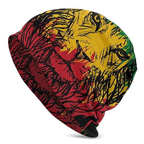 Colores de la Bandera de Etiopía en Grunge Sketchy Lion Head con Fondo Negro Tema Art Unisex Beanie Cap Gorro de Punto Gorro de Calavera Pullover Cap