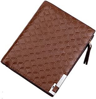 Mens Leather Bag Fashion Men Wallets Design Zipper Square Plaid Pattern 3 Color Patent Leather Card Holder Purse Wallet Bag (Color : Brown, Size : S)